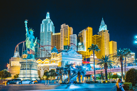 Colorful Downtown Las Vegas with world famous Strip and New York New York hotel and casino complex illuminated beautifully at night, Nevada, USA