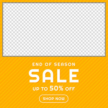 Illustration for Sale banner frame design yellow pattern background with space. vector illustration. - Royalty Free Image