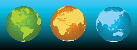 Earth - vector illustration in three colors - easy scalable and rotatable.