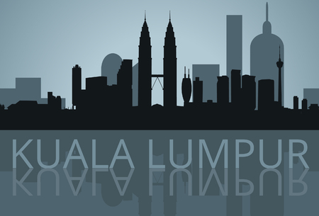 Illustration pour Kuala Lumpur, Malaysia shadow skyline vector - image libre de droit