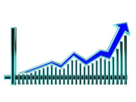 Blue Business Graph with arrow rising up and bars