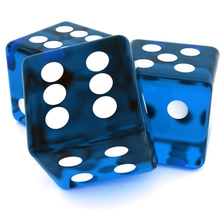 Photo pour 3D Blue rolling dice on white background - image libre de droit