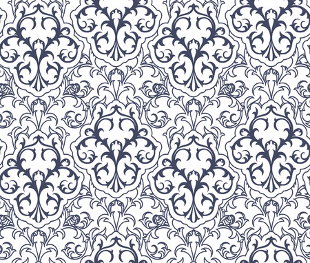Royal Blue and White Damask