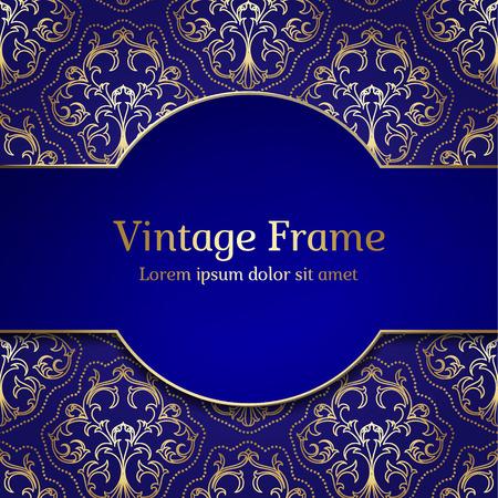 Vintage Royal Gold Frame. Damask Luxury Background.