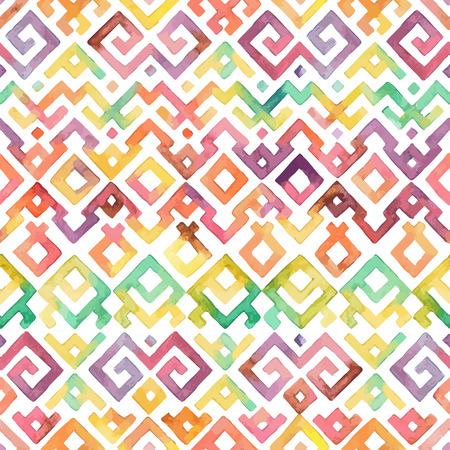 Seamless Hand Drawn Watercolor Ethnic Tribal Ornamental Pattern. Fabric Scrapbooking Wrapp