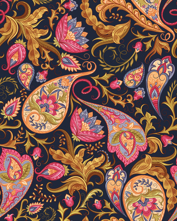 Illustration pour Vintage flowers seamless paisley pattern. Traditional persian pickles ornament. Fabric, textile, wrapping paper, card background, wallpaper template. - image libre de droit
