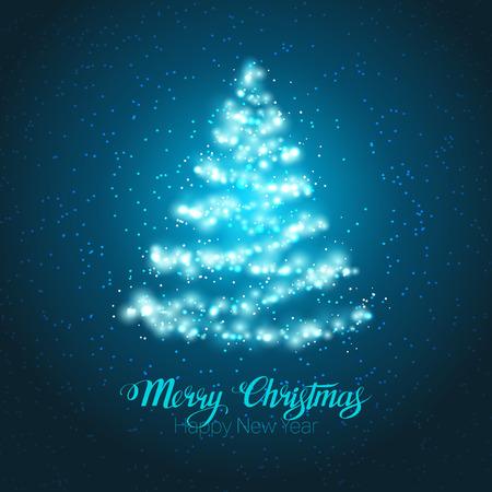 Elegant magic shining Christmas tree on blue background.