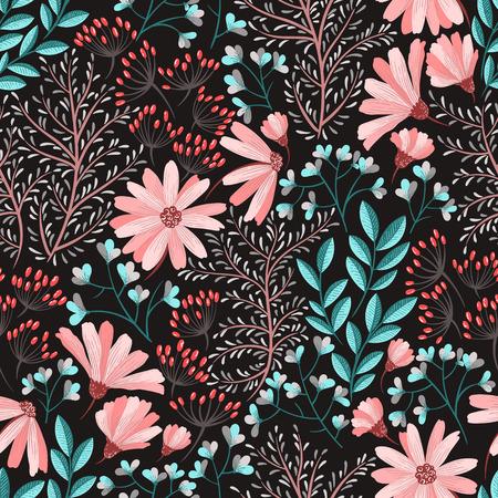 Illustration pour Seamless floral background pattern Decorative backdrop for fabric, textile, wrapping paper, card, invitation, wallpaper, web design - image libre de droit