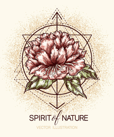 Illustration for flower and geometry shapes on grunge textured background. template for poster, t-shirt, print,  tattoo, card, label and other - Royalty Free Image