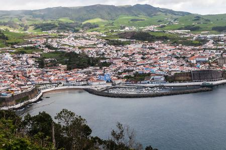Angra do Heroismo View from the Monte do Brasil, Terceira, Azores, Portugal.
