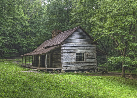 Noah Bud Ogle log cabin located in the Roaring Fork Area of the Great Smoky Mountains National Park, Tennessee.  Public Property no Property Release required.