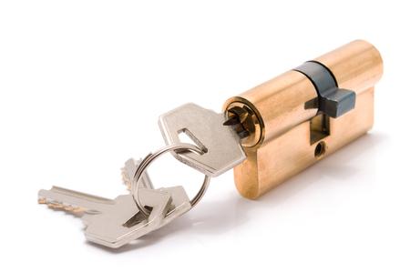 Photo for Cylinder lock with keys isolated on white background. - Royalty Free Image