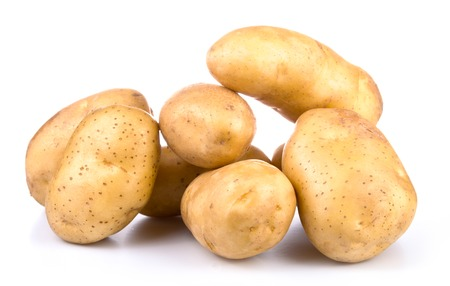 group of yellow new potato isolated on white background