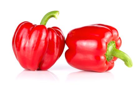 Foto für Pair of red sweet peppers isolated on white background - Lizenzfreies Bild
