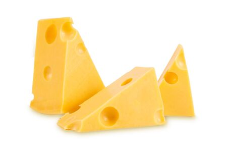 Photo for pieces of tasty yellow cheese isolated on white background - Royalty Free Image