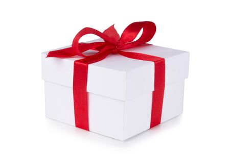 Photo for White box, bow and red ribbon isolated on white background - Royalty Free Image