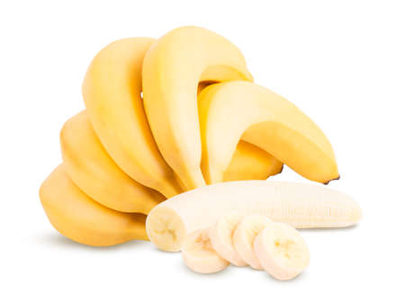 Photo for group of bananas isolated on the white background. - Royalty Free Image