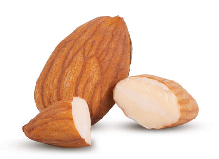 Photo for Closeup of almonds, isolated on the white background. - Royalty Free Image