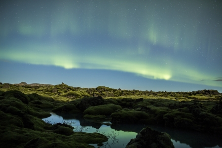 Northern lights above Icelan