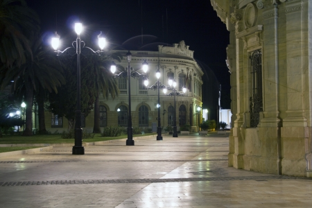 streets of the city of Cartagena at night with lighting, spain