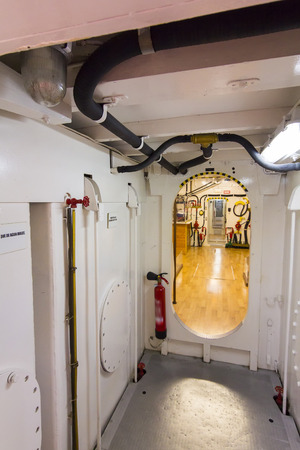 narrow corridor of a small boat