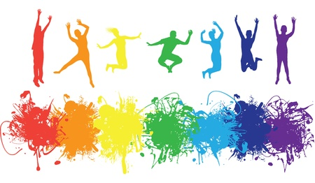 people jumping on a ink splash background