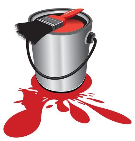 red paint pot