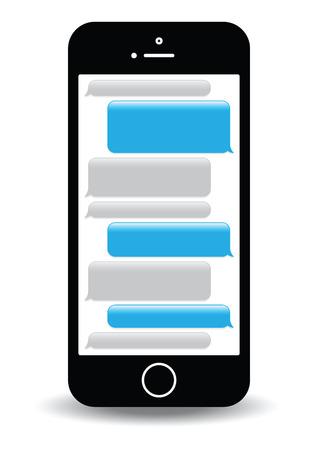Illustration pour a blue mobile phone text messaging screen - image libre de droit