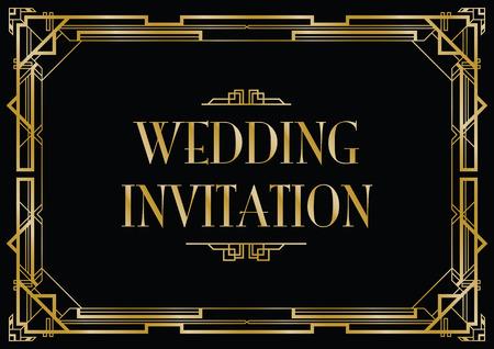 Illustration for gatsby wedding invite - Royalty Free Image