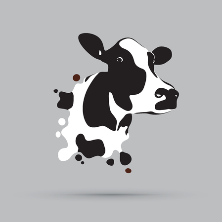 Ilustración de Abstract cow head illustration on gray background. - Imagen libre de derechos