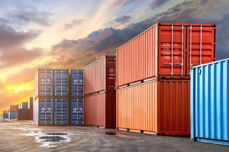 Photo pour Stack of containers box from Cargo freight ship for import-export at harbor and transportation industrial concept. - image libre de droit