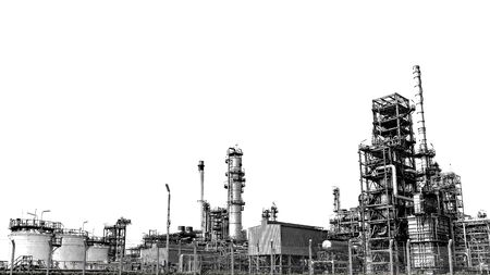 Photo pour Close-up industrial oil and gas refinery zone,Detail of equipment oil pipeline steel with valves on-off reduce the pressure in the production at refining factory. Silhouettes on white background. - image libre de droit