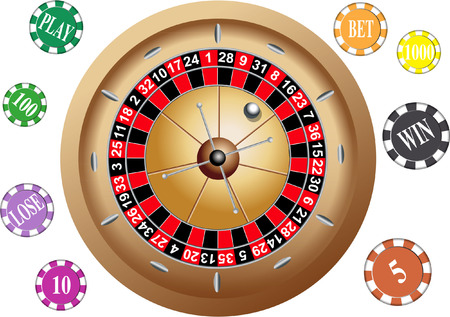 ROULETTE GAMBLING WHEEL WITH CHIPS