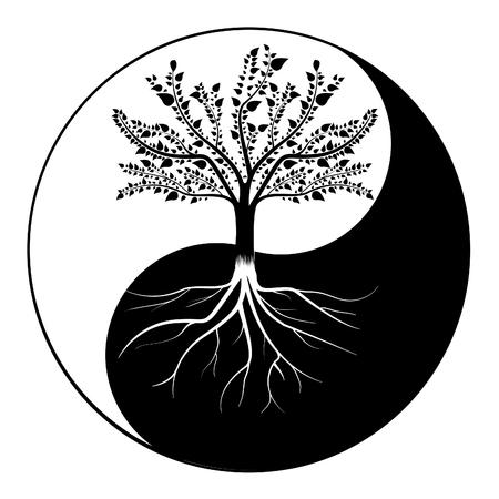 Ilustración de Yin Yang tree - Imagen libre de derechos