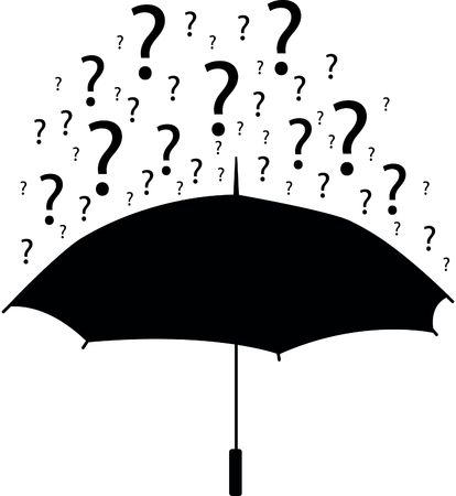 Umbrella with question marks