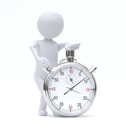 Photo pour Small person with stopwatch - image libre de droit