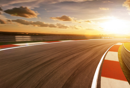 Foto de Motion blurred racetrack,golden hour mood - Imagen libre de derechos