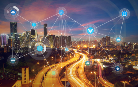 Photo for smart city and wireless communication network, abstract image visual, internet of things - Royalty Free Image