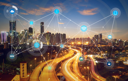 Photo pour smart city and wireless communication network, abstract image visual, internet of things - image libre de droit