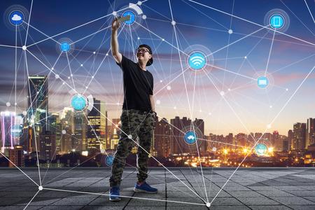 Photo pour city scape and network connection concept Image - image libre de droit