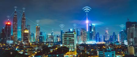 Photo pour Cityscape with wi-fi connection conceptual,information communication technology concept - image libre de droit
