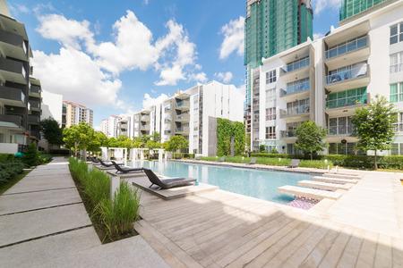 Foto de Modern residential buildings with outdoor facilities, Facade of new low-energy houses - Imagen libre de derechos