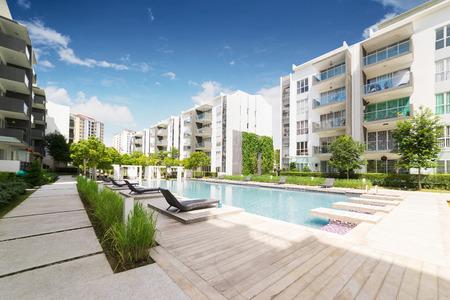 Foto de Modern residential buildings with outdoor facilities, Facade of new low-energy houses . - Imagen libre de derechos