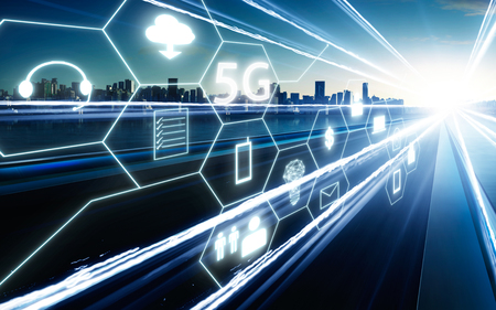 Photo pour 5G network wireless systems and internet of things with  highway overpass motion blur with city skyline background . - image libre de droit