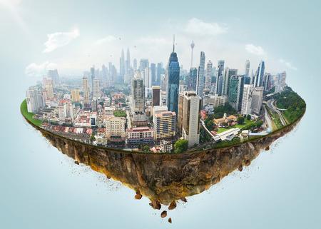 Foto de Fantasy island floating in the air with modern city skyline . - Imagen libre de derechos
