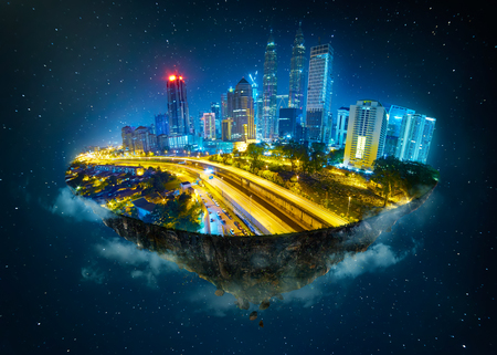Photo pour Fantasy island floating in the air with modern city skyline and lake garden, Night scene . - image libre de droit