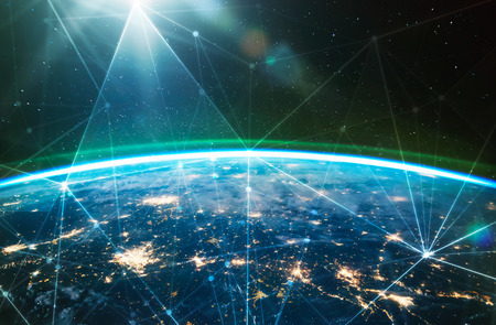Foto de Network connected across planet Earth ,  view from space. Concept of smart wireless communication technology . Some elements of this image furnished by NASA - Imagen libre de derechos