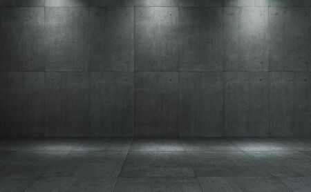 Industrial Loft style dark concrete cement square tiles wall and floor with spot lighting background .