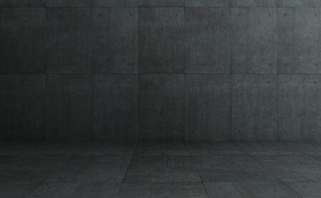 Photo pour Industrial Loft style dark concrete cement square tiles wall and floor background . - image libre de droit