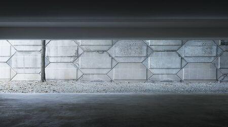 Photo pour Basement indoor empty car park with cement facade . - image libre de droit
